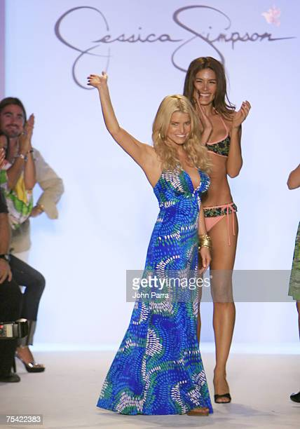 "Designer Jessica Simpson closes the runway at the Jessica Simpson swimwear fashion show during ""Mercedes Benz Fashion Week: Miami Swim"" in the Cabana..."