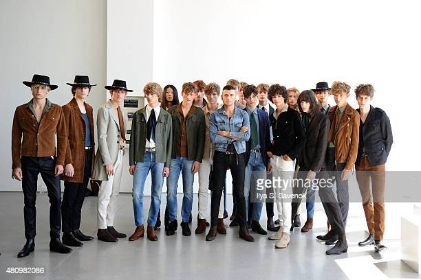 Designer Jessy Heuvelink poses with models at the J. Lindeberg presentation during New York Fashion Week: Men's S/S 2016 at Spring Studios on July...