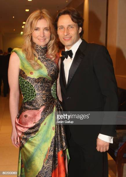 Designer Jette Joop and Christian Elsen attend the B'nai B'rith Europe Award of Merit at the Marriot hotel on March 11 2008 in Berlin Germany