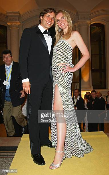 Designer Jette Joop and friend Christian Elsen attend the Dreamball2008 charity gala in the Martin-Gropius building on September 18, 2008 in Berlin,...