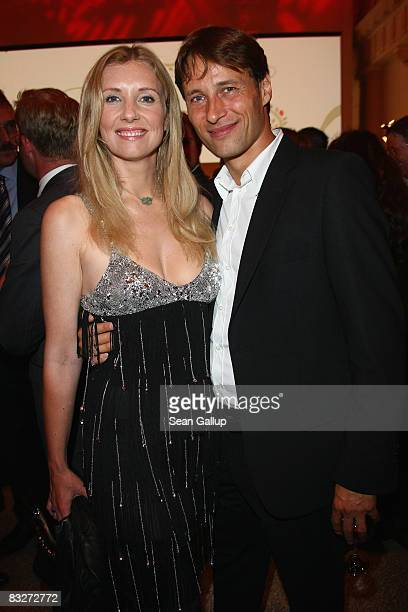 Designer Jette Joop and friend Christian Elsen attend the Vodafone Night 2008 at the Hotel de Rome on October 14 2008 in Berlin Germany