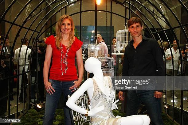 Designer Jette Joop and husband Christian Elsen attend the Jette Lounge during the Mercedes Benz Fashion Week Spring/Summer 2011 at Bebelplatz on...