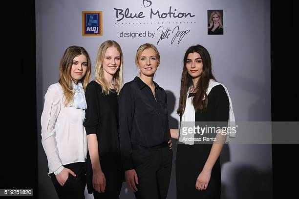 Designer Jette Joop poses with models during the ALDI SUED Blue Motion by Jette Joop fashion show on April 5 2016 in Duesseldorf Germany