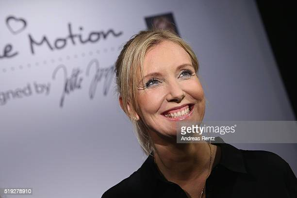 Designer Jette Joop smiles at the ALDI SUED Blue Motion by Jette Joop fashion show on April 5 2016 in Duesseldorf Germany