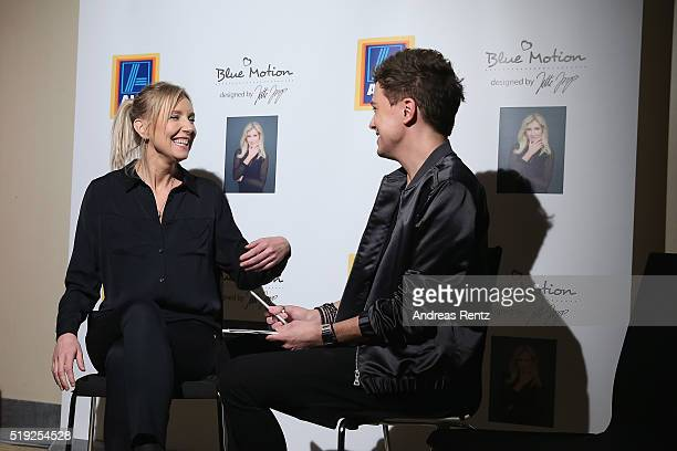Designer Jette Joop smiles during an interview at the ALDI SUED Blue Motion by Jette Joop fashion show on April 5 2016 in Duesseldorf Germany