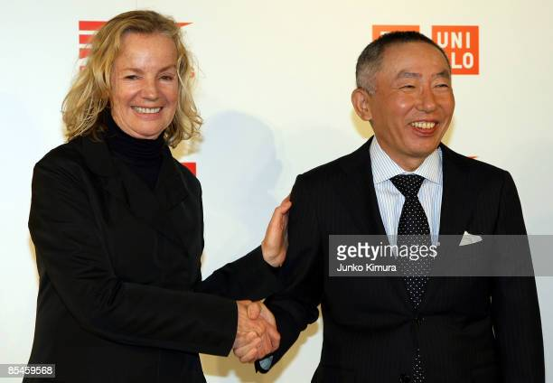 Designer Jil Sander and Tadashi Yanai , Chairman and CEO, Fast Retailing Co., Ltd. Pose for photographs during a press conference at Four Seasons...