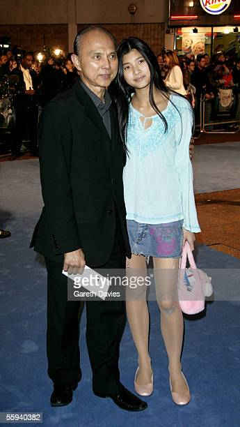 Designer Jimmy Choo and his daughter arrive at the UK Premiere of Tim Burton's 'Corpse Bride' at Vue West End on October 17 2005 in London England