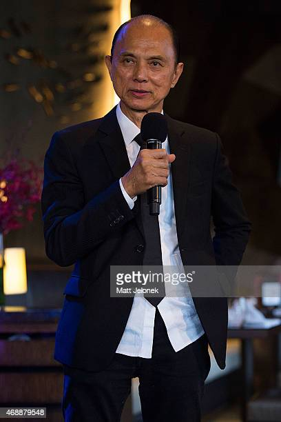 Designer Jimmy Choo speaks to guests at the 'Dine With Professor Jimmy Choo' lunch at Nobu Perth at Crown on April 8 2015 in Perth Australia