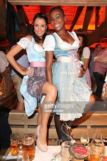 Designer Joana Danciu and Nicole Coste mother of Albert of Monaco's son Alexandre wearing a dirndl by Joana Danciu during the Oktoberfest 2015 at...