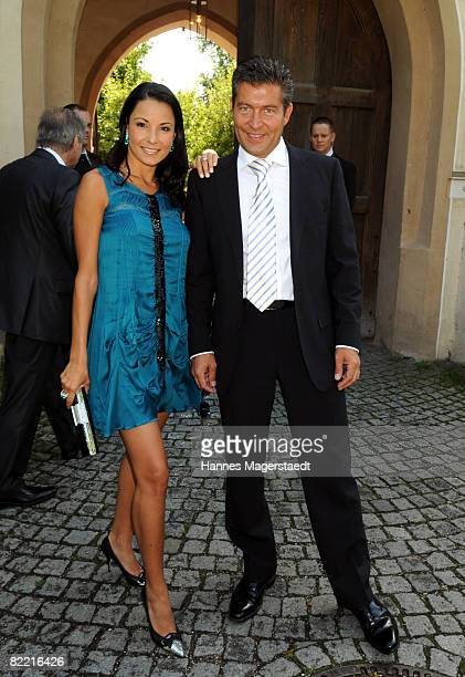 Designer Joana Danciu and Thomas Jirgens attend the wedding of Designer Sarah Kern and Goran Munizaba at Blutenburg Castle on August 8 2008 in Munich...