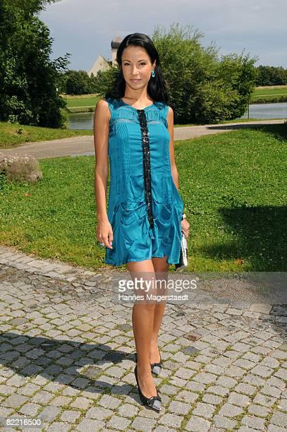 Designer Joana Danciu attends the wedding of Designer Sarah Kern and Goran Munizaba at Blutenburg Castle on August 8 2008 in Munich Germany The...