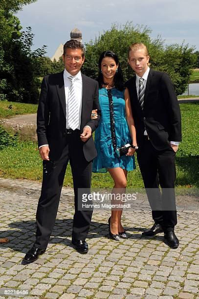 Designer Joana Danciu Thomas Jirgens and Olivier Kern attend the wedding of Designer Sarah Kern and Goran Munizaba at Blutenburg Castle on August 8...