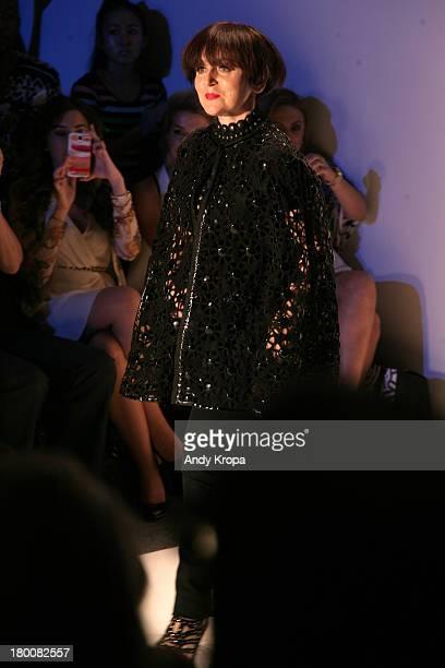 Designer Joanna Mastroianni walks the runway at the Joanna Mastroianni fashion show during MercedesBenz Fashion Week Spring 2014 at The Studio at...