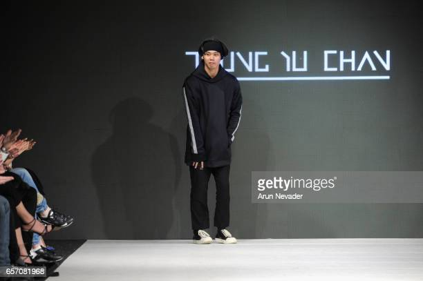 Designer Joe Chan on the runway at Vancouver Fashion Week Fall/Winter 2017 at Chinese Cultural Centre of Greater Vancouver on March 23, 2017 in...