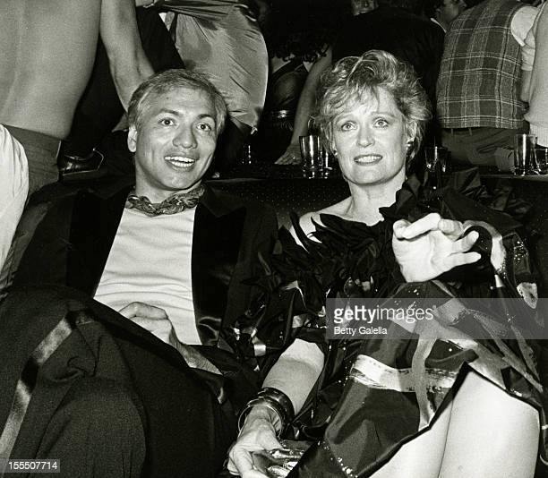Designer Joe Tubens and actress Alexis Smith attend the grand reopening of Studios 54 on September 15 1981 in New York City
