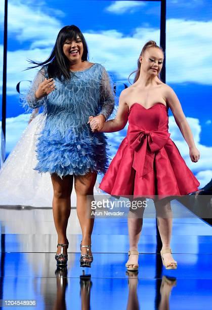 Designer Johana Hernandez and Madeline Stuart walk the runway during Glaudi Show At New York Fashion Week Powered By Art Hearts Fashion NYFW 2020 at...