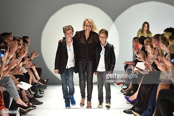 Designer Johanna Johnson thanks guests following the Johanna Johnson Presented By Capitol Grand show at Mercedes-Benz Fashion Week Australia 2015 at...