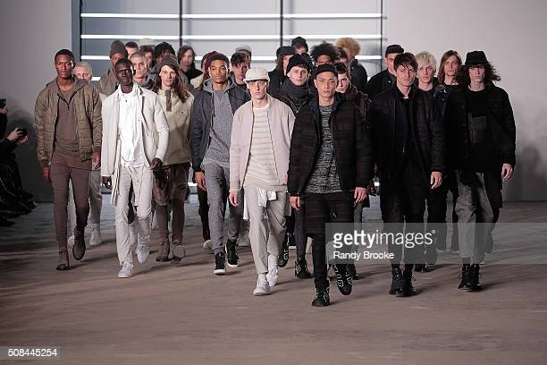 Designer John Elliot comes out with his models at the conclusion of theJohn Elliott + CO New York Fashion Week Men's Fall/Winter 2016 at Skylight at...