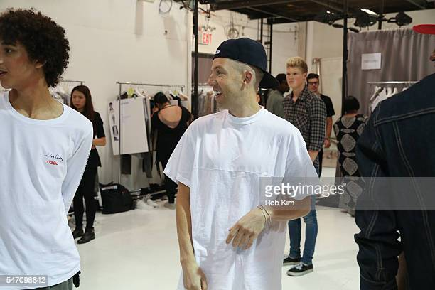 Designer John Elliott backstage at the John Elliott fashion presentation during New York Fashion Week: Men's S/S 2017 at Skylight Clarkson Sq on July...