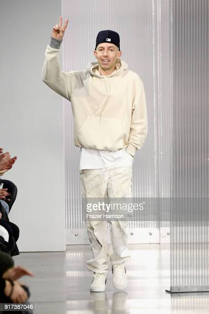 Designer John Elliott walks the runway for John Elliott during New York Fashion Week: The Shows at Gallery II at Spring Studios on February 12, 2018...