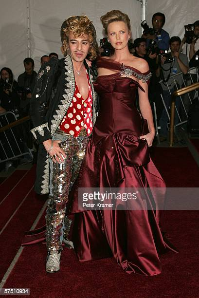 Designer John Galliano and actress Charlize Theron attend the Metropolitan Museum of Art Costume Institute Benefit Gala Anglomania at the...