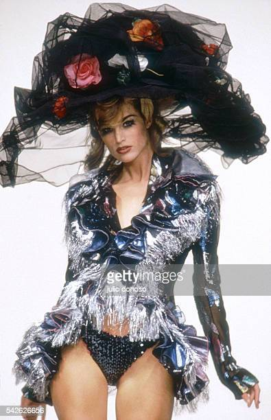 Designer John Galliano presents his 1992 SpringSummer ReadytoWear women's fashion hat collection in Paris A model wears an oversized brimmed hat...