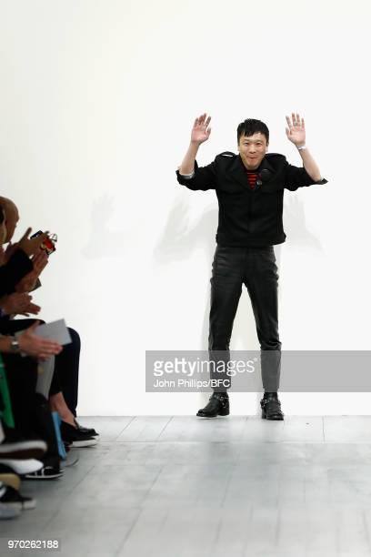 Designer John Lawrence Sullivan is seen on the runway at the John Lawrence Sullivan show during London Fashion Week Men's June 2018 at BFC Show Space...