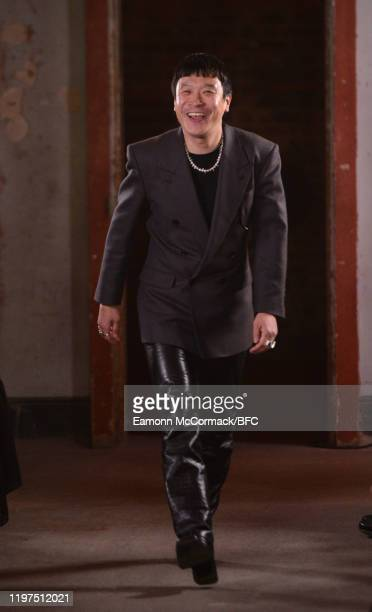 Designer John Lawrence Sullivan on the runway at his show during London Fashion Week Men's January 2020 on January 04, 2020 in London, England.