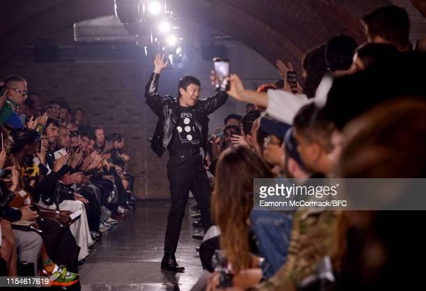 Designer John Lawrence Sullivan on the runway at the John Lawrence Sullivan show during London Fashion Week Men's June 2019 at Kachette on June 08,...