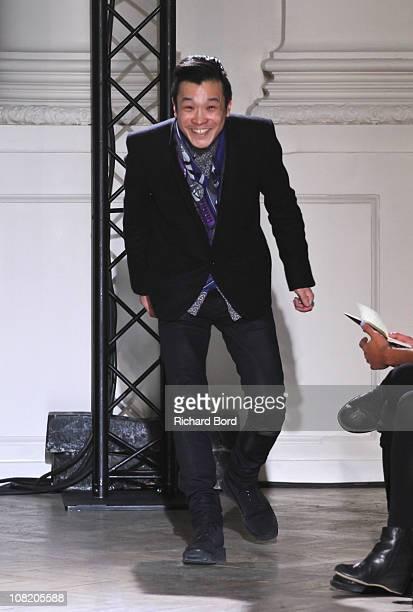 Designer John Lawrence Sullivan walks the runway during John Lawrence Sullivan show as part of Paris Menswear Fashion Week Fall/Winter 2011-2012 at...