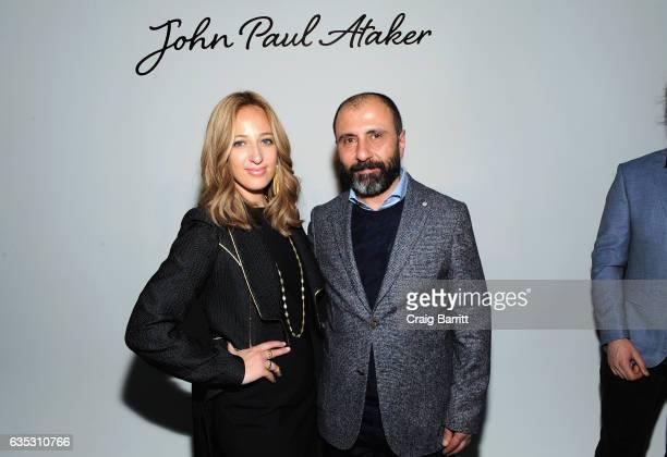 Designer John Paul Ataker and jewlery designer Freida Rothman backstage at the John Paul Ataker Fall Winter 2017 Runway Show at Pier 59 on February...