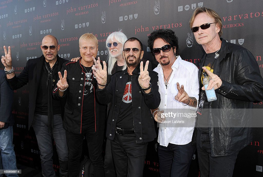Designer John Varvatos, Gregg Bissonette, Edgar Winter, Ringo Starr, Steve Lukather and Richard Page attend the International Peace Day celebration at John Varvatos on September 21, 2014 in Los Angeles, California.