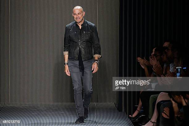 Designer John Varvatos walks the runway at the John Varvatos S/S 2016 runway show during New York Fashion Week Men's at Skylight Clarkson Sq on July...