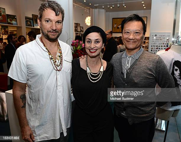 Designer Johnson Hartig Rosa Apadaca and Joel Chen attend the Director's Circle Celebration of WEAR LACMA Inaugural Designs by Johnson Hartig For...