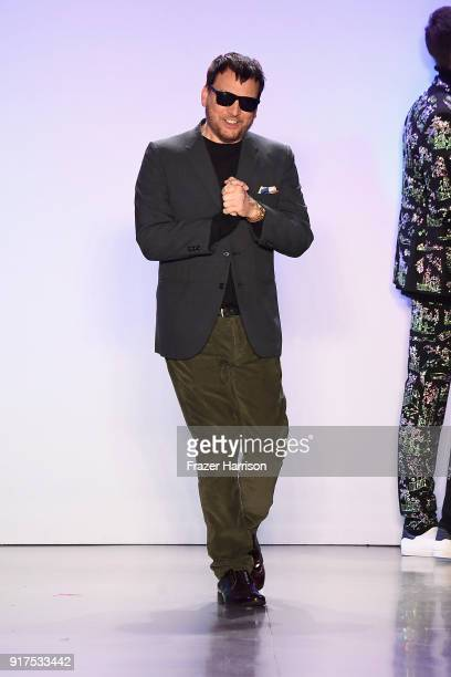 Designer Johnson Hartig walks the runway for Libertine during New York Fashion Week The Shows at Gallery II at Spring Studios on February 12 2018 in...