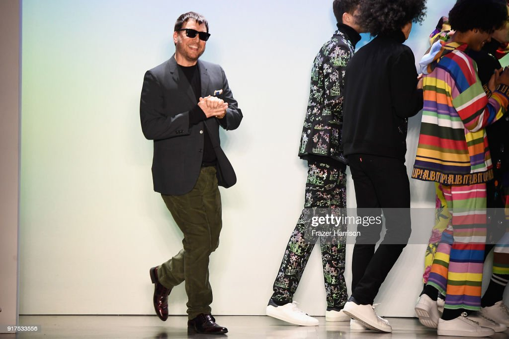Designer Johnson Hartig walks the runway for Libertine during New York Fashion Week: The Shows at Gallery II at Spring Studios on February 12, 2018 in New York City.