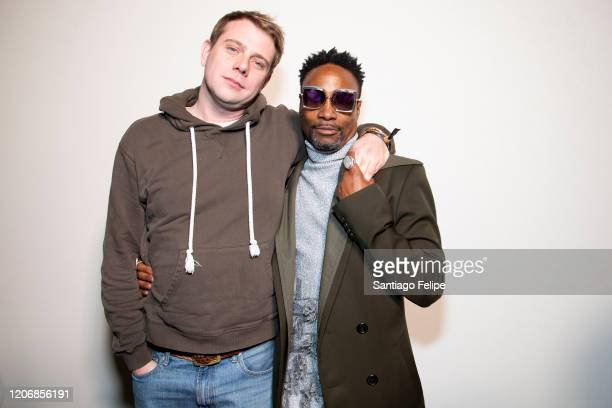 Designer Jonathan Anderson and Billy Porter backstage after 'JW Anderson' fashion showduring London Fashion Week February 2020 on February 17 2020 in...