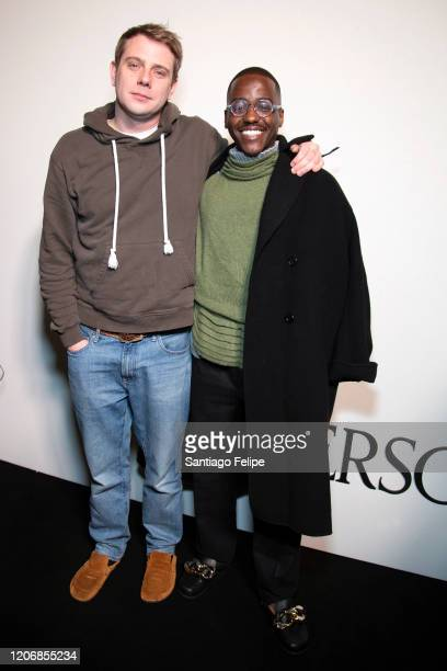 Designer Jonathan Anderson and Ncuti Gatwa backstage after 'JW Anderson' fashion show during London Fashion Week February 2020 on February 17 2020 in...