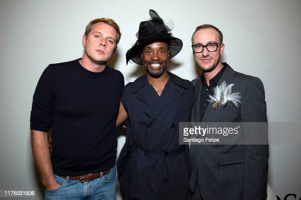 Designer Jonathan Anderson Billy Porter and Adam PorterSmith pose for photos backstage after 'JW Anderson S/S 2020' fashion show during London...