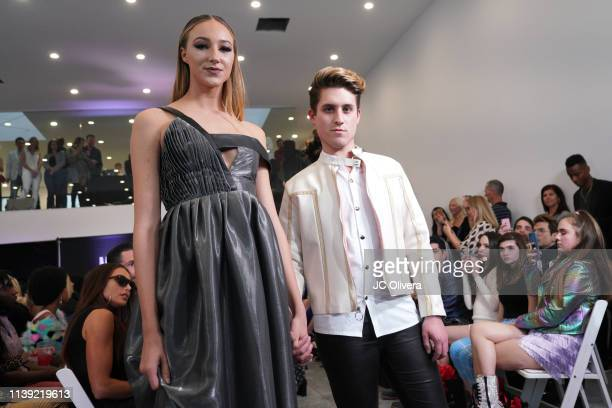Designer Jonathan Marc Stein and model onstage during Matt Sarafa and Jonathan Marc Stein's new 'Rich' clothing line release and fashion show on...
