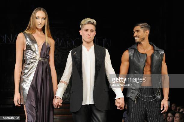 Designer Jonathan Marc Stein and two models walk the runway for Jonathan Marc Stein Fashion Show at Art Hearts Fashion SS/18 at The Angel Orensanz...