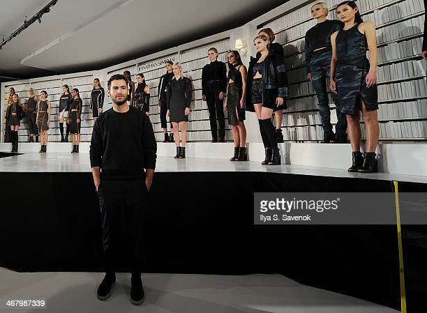 Designer Jonathan Simkhai poses at the Jonathan Simkhai presentation during MADE Fashion Week Fall 2014at Milk Studios on February 8 2014 in New York...