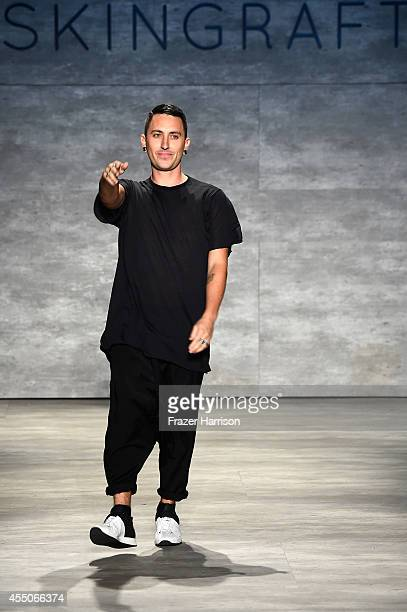 Designer Jonny Cota walks the runway at the Skingraft fashion show during Mercedes-Benz Fashion Week Spring 2015 at The Pavilion at Lincoln Center on...