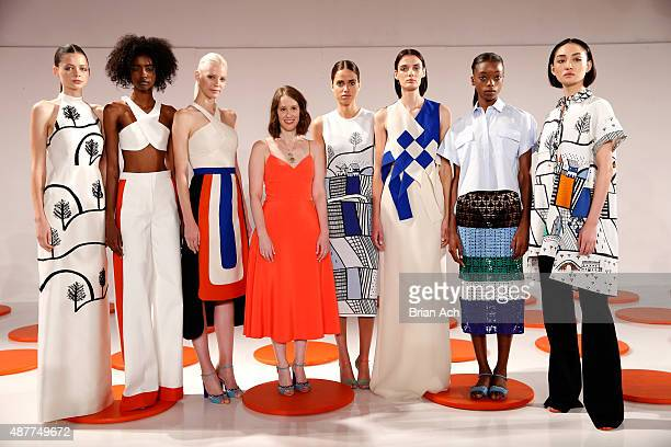 Designer Jordana Warmflash poses on the runway at the Novis presentation during Spring 2016 New York Fashion Week: The Shows at The Space, Skylight...