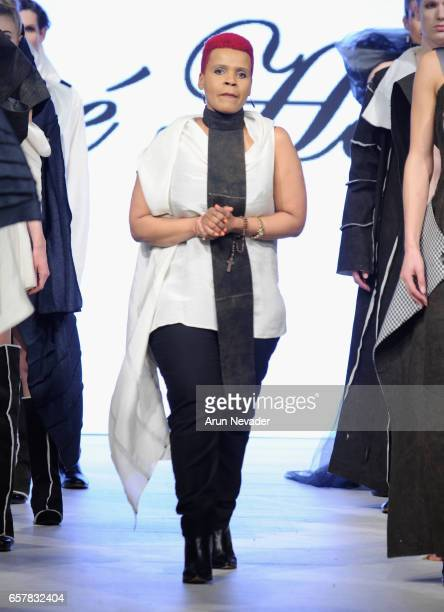 Designer Jose Hendo walks the runway at Vancouver Fashion Week Fall/Winter 2017 at Chinese Cultural Centre of Greater Vancouver on March 25, 2017 in...