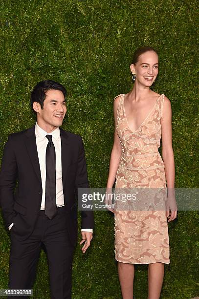 Designer Joseph Altuzarra and model Vanessa Axente attend The 11th Annual CFDA/Vogue Fashion Fund Awards at Spring Studios on November 3 2014 in New...