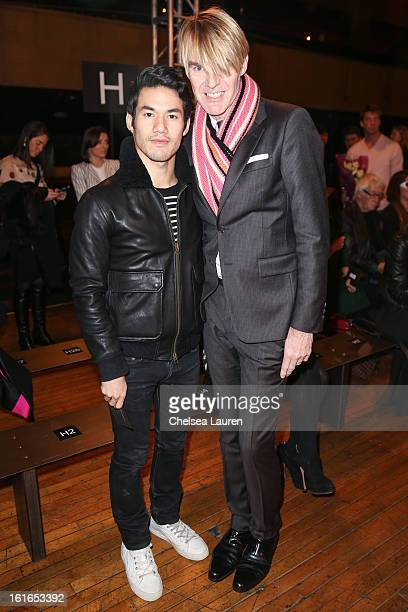 Designer Joseph Altuzarra and Neiman Marcus fashion director Ken Downing attend the Philosophy By Natalie Ratabesi fall 2013 fashion show during...