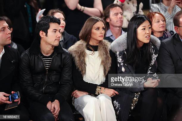 Designer Joseph Altuzarra and TV personality Olivia Palermo attend the Philosophy By Natalie Ratabesi fall 2013 fashion show during MercedesBenz...