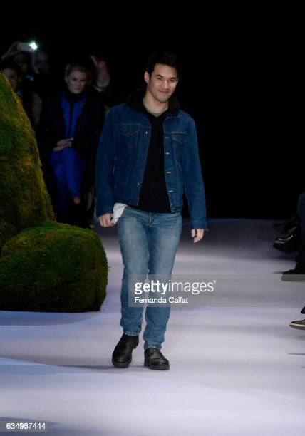 Designer Joseph Altuzarra poses on the runway at the Altuzarra February 2017 fashion show during New York Fashion Week on February 12 2017 in New...