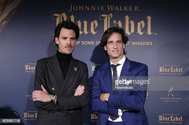 Designer Juan Avellaneda and tennis player Feliciano Lopez attend the 'Blue Nights' presentation at 47 Ronin Restaurant on November 23 2016 in Madrid...